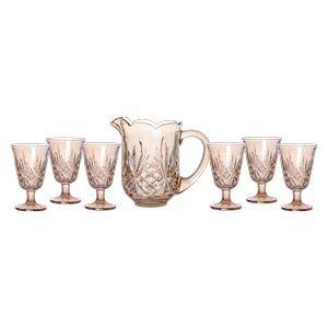 Conjunto de Jarra e 06 Taças de Vidro Dublin Âmbar - Lyor