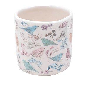 Cachepot Cerâmica Birds And Flowers Branco