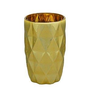 Conjunto de 06 Copos Vidro Diamond Dourado - Lyor
