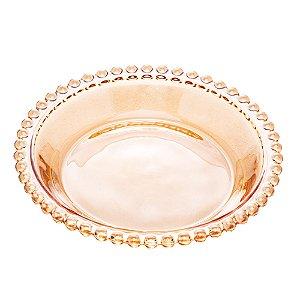 Prato Decorativo Borda de Bolinhas Vidro Clear Âmbar 14 cm
