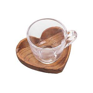 Conjunto de 6 xícaras com Pires de Madeira Teca 75 ml