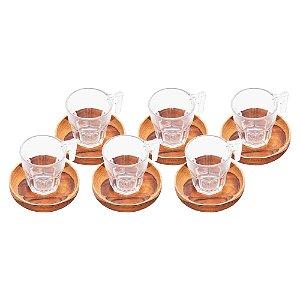 Conjunto de 6 Xícaras com Pires´Redondo de Madeira Teca 75 ml