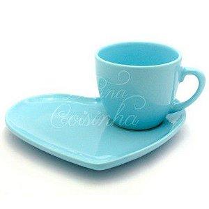 Xícara para Chá com Pires de Coração Azul