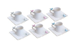 Conjunto de 6 Xícaras de Porcelana Para Café Birds Design Colorido