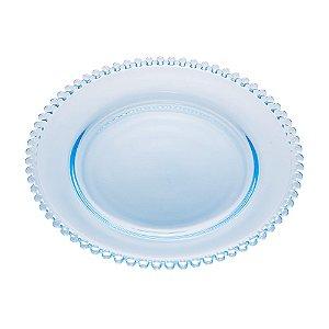 Prato de Cristal de Chumbo Pearl Bolinhas Azul Claro 28cm - Wolff