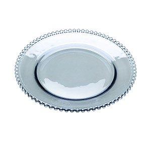 Prato de Cristal de Chumbo para Sobremesas Bolinhas Pearl Azul 20 cm - Wolff