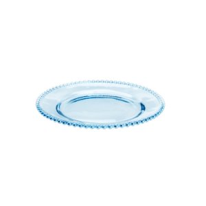 Prato de Cristal de Chumbo Bolinhas Pearl Azul 28 cm - Wolff