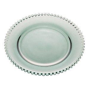 Prato de Cristal de Chumbo Bolinhas Pearl Verdel 28 cm - Wolff