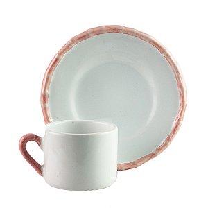 Xícara de Chá de Cerâmica Bambu Rosa 200ml - Scalla