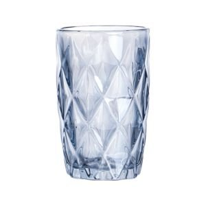 Conjunto de 06 Copos Vidro Diamond Azul Metalizado - Lyor