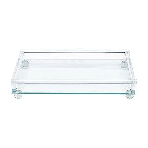 Bandeja Decorativa de Vidro Sodo 33 x 20cm - Cálcico com Pé Retangular