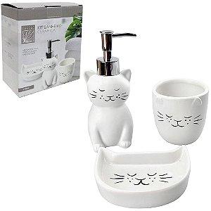 Kit para Banheiro de Porcelana Gatinho