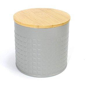 Lata Cinza com Tampa de Bambu
