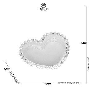 Prato de Cristal de Chumbo Pearl Bolinha Coração Clear 12 cm - Wolff