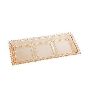 Petisqueira de Cristal com 3 Divisões de Cristal Chumbo Bolinhas Pearl Âmbar