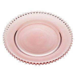 Prato de Cristal de Chumbo Para Sobremesas Pearl Bolinha Roxo  20 cm - Wolff