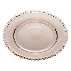Prato de Cristal de Chumbo Para Sobremesas Pearl Bolinha Fumê  20 cm - Wolff