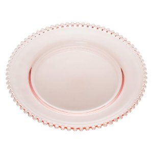 Prato de Cristal de Chumbo Para Sobremesas Pearl Bolinha Rosa 20 cm - Wolff