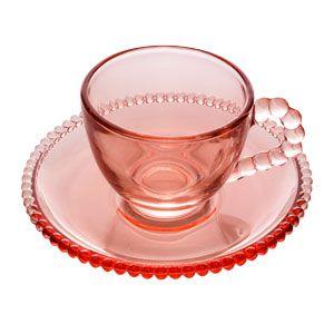 Xícara de Cristal de Chumbo Para Café Com Pires Bolinhas Pearl Rosa - 80 ml