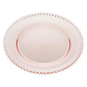 Prato de Cristal de Chumbo Pearl Bolinha Rosa 28 cm - Wolff