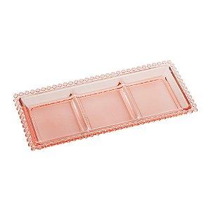 Petisqueira de Cristal com 3 Divisões de Cristal Chumbo Bolinhas Pearl Rosa
