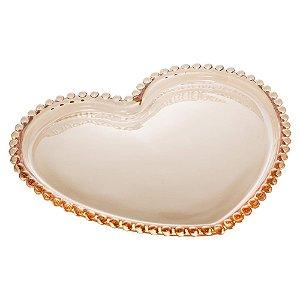 Prato de Cristal de Chumbo Pearl Bolinha Coração Âmbar 17 cm - Wolff