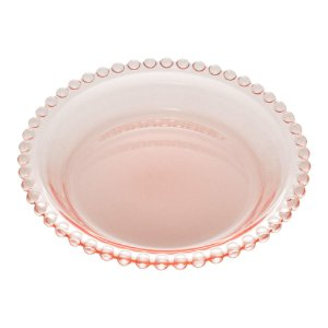 Prato Decorativo Borda de Bolinhas Vidro Clear Rosa 14 cm