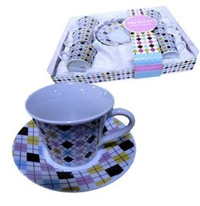 Jogo de Xícaras para Chá - Xadrez