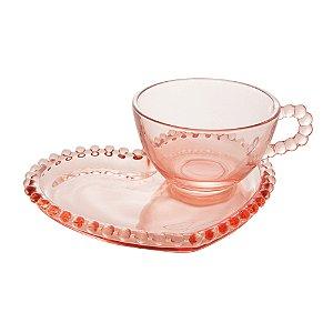 Xícara de Cristal de Chumbo Para Chá Com Prato de Coração Bolinhas Pearl Rosa - 180 ml