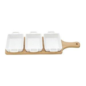 Conjunto de 3 Petisqueiras Brancas de Porcelana com Bandeja de Bambu