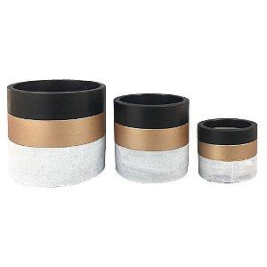 Trio de Vasos Cimento ,Preto e Dourado