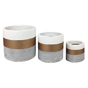 Trio de Vasos Cimento , Branco e Dourado
