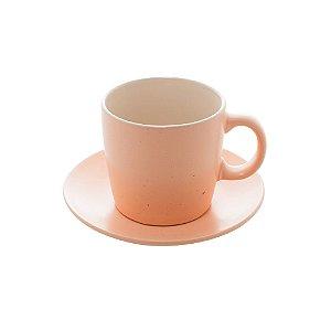 Conjunto de 4 Xícaras de Chá Cerâmica Granilite Salmon 200ml