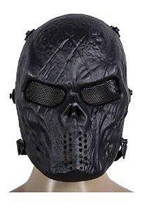 Máscara Caveira Skull Black Airsoft Paintball Cs Cosplay Jog