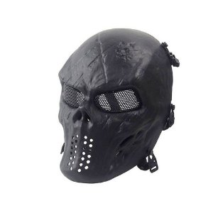 Máscara Caveira Skull Black Airsoft Paintball Cs Cosplay Jog