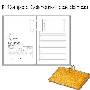 Agenda de Mesa REDOMA Calendário Comum 2018 R. 501 Branco + Base Madeira