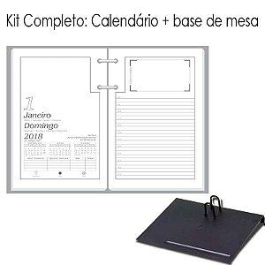 Agenda de Mesa REDOMA Calendário Comum 2018 R. 501 Branco + Base VIP Preto