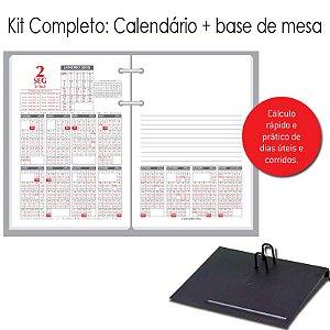 Agenda de Mesa REDOMA Calendário Financeiro 2018 R. 360 Branco + Base VIP Preto