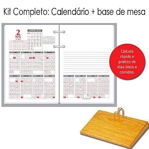 Agenda de Mesa REDOMA Calendário Financeiro 2018 R. 360 Branco + Base Madeira