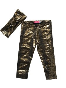 Legging e faixinha Glam dourada