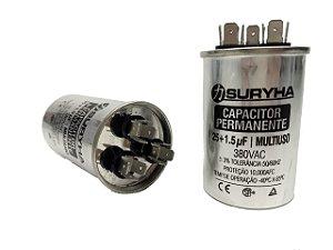 Capacitor 25 + 1,5 Uf 380V Copo Aluminio Suryha