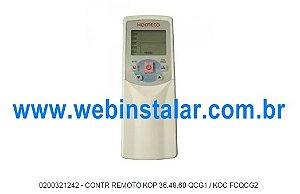 CONTR REMOTO KOP 36.48.60 QCG1 / KOC FCQCG2 CÓD:0200321242