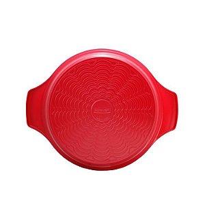 Caçarola de Cerâmica tampa de vidro 28cm - Vermelha