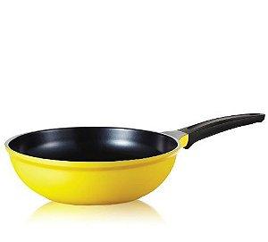 Wok Roichen Natural com Revestimento Cerâmico - 26 CM - 3,0L - Amarelo - Sem tam
