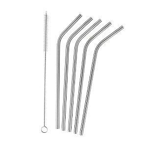 Conjunto de 4 Canudos e 1 Escova para Limpeza em Aço Inox - Prata