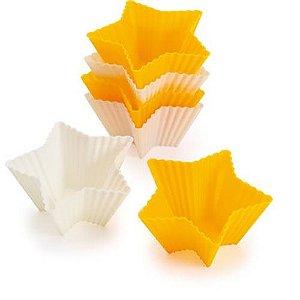 6 Fôrmas de silicone estrêla p/Muffin