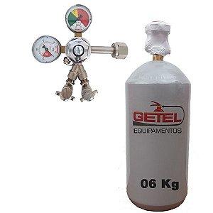 Kit Cilindro CO2 06 Kg + Regulador Saída Dupla - Reman