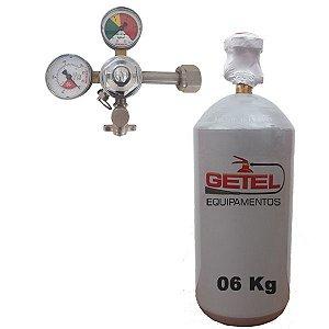 Kit Cilindro CO2 06 Kg + Regulador Saída Simples - Reman