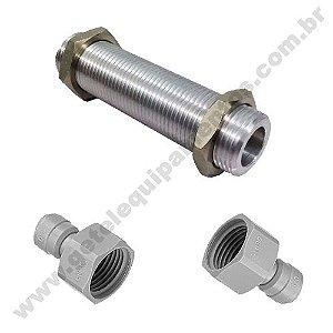 "Prolongador c/ Porca 5/8"" - Alumínio - 9 cm + 2 Engates Rápidos 3/8"""