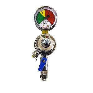 "Regulador de Pressão CO2 (Reman - Manifold) - Saída  NPTF 1/4"" - Válvula esfera"